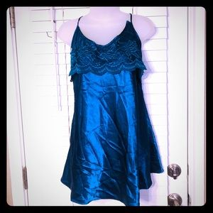 {Vintage} Teal lace panel silky chemise/slip